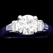 Vintage Diamond Ring set in Platinum Setting with Baguette Diamonds