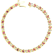 Diamond and Ruby Tennis Bracelet in 14k Yellow Gold