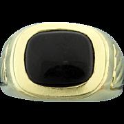 18K Yellow Gold Men's Onyx Ring