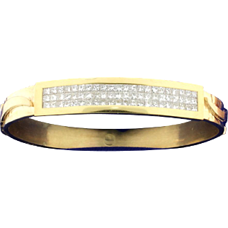 Custom Made 4ct Total Weight Diamond Bangle Bracelet