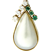 Diamond, Emerald, & Pearl Pendant