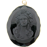 Vintage Black Mourning Cameo Pendant
