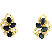 2ct Total Weight Sapphire and Diamond Earrings