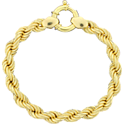 18k Yellow Gold Thick Rope Bracelet