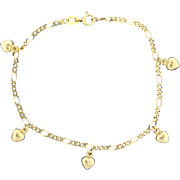 Figaro Chain Bracelet with 5 Dangling Hearts 14k Yellow Gold