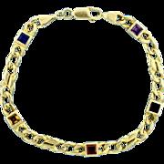 Multi Color Gemstone Bracelet in 14k Yellow Gold