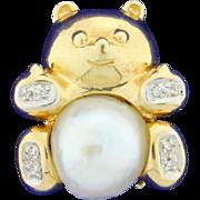Pearl & Diamond Bear Pendant Pin