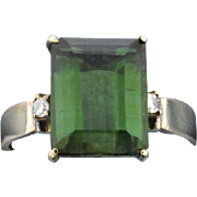 4ct Diopside and Diamond Ring 14k Yellow Gold