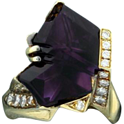 18K Gold Modern Amethyst and Diamond Ring