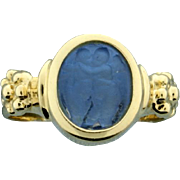 Italian Made Signet Ring With Venetian Glass 14k Gold