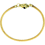Gold Rope Bracelet with Sapphire in 14k Yellow Gold
