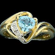 Blue Topaz & Diamond Ring 10k Yellow Gold