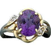 3ct Amethyst & Diamond Ring 10k Yellow Gold
