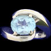 18k 3ct Sky Blue Topaz Ring 18k White Gold
