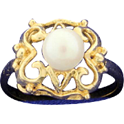 Vintage Pearl Ring 10k Yellow Gold
