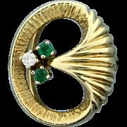 Natural Emerald and Diamond Ring 14k Yellow Gold