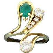 Natural Emerald and Diamond Ring 14k Yellow Gold