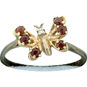 Diamond and Garnet Butterfly Ring 10k Gold