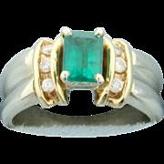 Emerald and Diamond Ring 14k Yellow Gold
