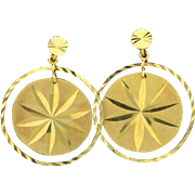 Round Star Design Dangle Earrings