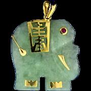 Jade Asian Elephant Pendant with Ruby