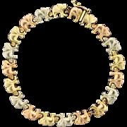 Rose, Yellow, and White Gold Elephant Bracelet