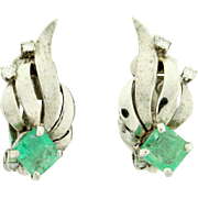 Large Natural Emerald and Diamond Earrings