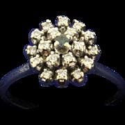 Vintage Alexandrite and Diamond 14k White Gold Ring