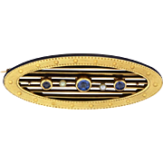 Vintage Sapphire and Pearl Pin