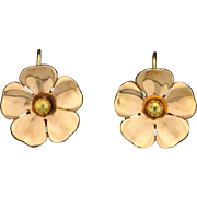 Rose Gold Screw Back Flower Earrings