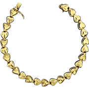 7 Inch Heart Link Bracelet in 14k Gold