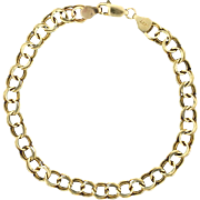 7 Inch Double Circle Link Charm Bracelet in 14k Gold