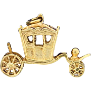 Carriage Charm with Moving Wheels