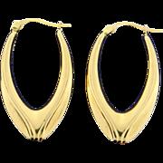 Elongated Hoop 14k Gold Earrings