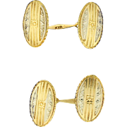 Oval 18k Gold Cuff Links