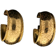 18k Gold Vintage Hoop Earrings with Unique Crackle Finish
