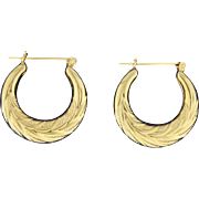 Hoop Earrings with Nature/Leaves Etching in 14k Gold