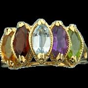 Multi Gemstone Ring with Peridot, Amethyst, Blue Topaz, Garnet, and Citrine