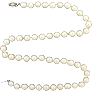 Antique Cultured Pearl Necklace with Diamond Clasp