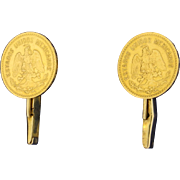 Mexican Five Peso Gold Coin Cufflinks