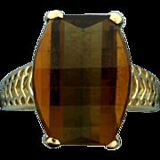 Checker Board Cut Smokey Quartz Ring