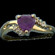 Heart Amethyst and Diamond Ring