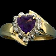Amethyst Heart and Diamond Ring