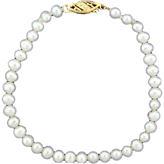 Vintage Akoya Pearl Bracelet with 14k Gold Clasp