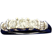 1 ct TW Round and Baguette Diamond Ring