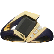 Onyx and Diamond Ring in 14k Gold