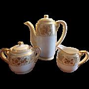 TEA / COFFEE POT Chikaramachi 3 - Piece Tea Set, Hand Painted Porcelain Teapot, Cream & Covered Sugar