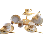Set of 5 Porcelain Demitasse CUPS & SAUCERS with Coordinating Demitasse Spoons, Chickaramachi Hand Painted Porcelain