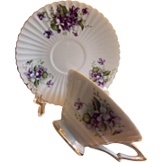 LEFTON Cup & Saucer Set -  Lefton Tea Set, Violets Pattern