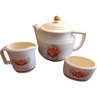 Harker Pottery Teapot, Sugar and Cream Set, Harker Pottery Modern Age 3 Piece Set